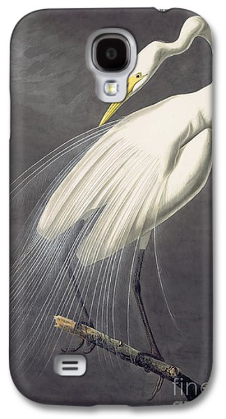 Wild Life Drawings Galaxy S4 Cases - Great Egret  Galaxy S4 Case by John James Audubon