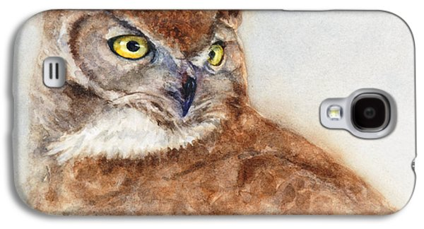 Great Birds Galaxy S4 Cases - Great Horned Owl Galaxy S4 Case by Bonnie Rinier