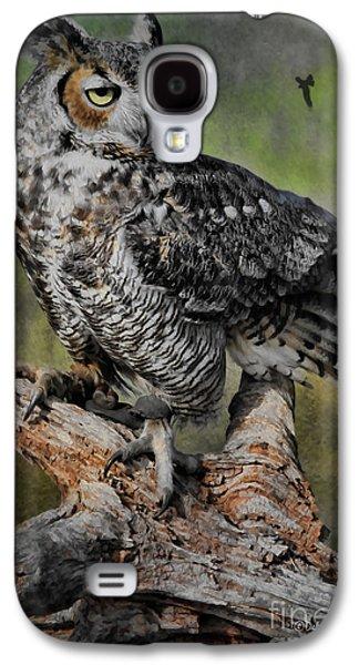 Deborah Benoit Galaxy S4 Cases - Great Horned Owl on Branch Galaxy S4 Case by Deborah Benoit