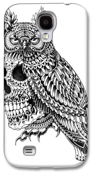 Native Drawings Galaxy S4 Cases - Great Horned Skull Galaxy S4 Case by BioWorkZ