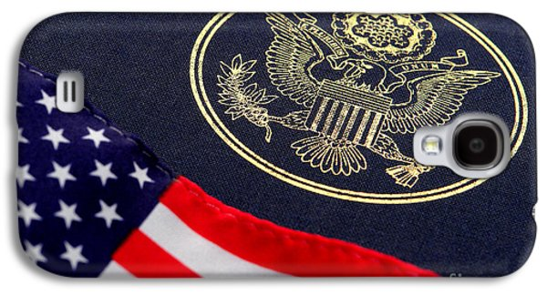Wavy Galaxy S4 Cases - Great Seal of the United States and American Flag Galaxy S4 Case by Olivier Le Queinec