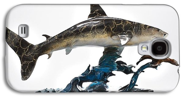 Sharks Sculptures Galaxy S4 Cases - Great White chasing Sea Lion Galaxy S4 Case by Victor Douieb