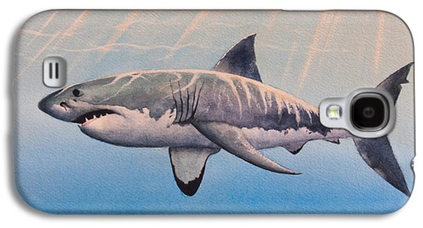 Shark Paintings Galaxy S4 Cases - Great White Galaxy S4 Case by James Zeger