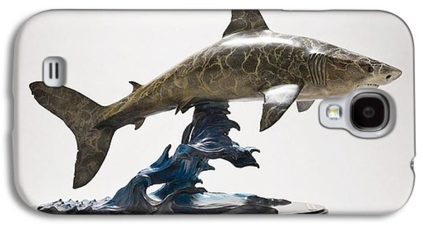 Sharks Sculptures Galaxy S4 Cases - Great White Shark Galaxy S4 Case by Victor Douieb