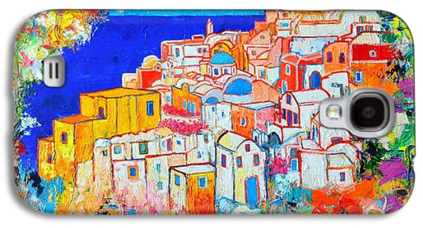 Sunset Abstract Galaxy S4 Cases - Greece - Santorini Island - Abstract Impression From Oia At Sunset - A Moment In Time Galaxy S4 Case by Ana Maria Edulescu