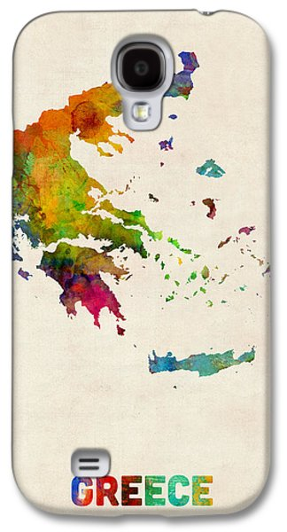 Maps - Galaxy S4 Cases - Greece Watercolor Map Galaxy S4 Case by Michael Tompsett