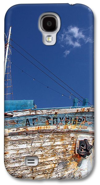 Wooden Fish Galaxy S4 Cases - Greek Fishing Boat Galaxy S4 Case by Stylianos Kleanthous