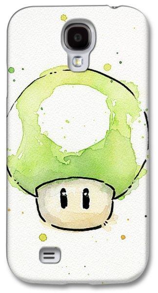 Character Portraits Galaxy S4 Cases - Green 1UP Mushroom Galaxy S4 Case by Olga Shvartsur