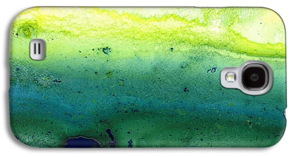 Blue Abstracts Galaxy S4 Cases - Green Abstract Art - Life Song - By Sharon Cummings Galaxy S4 Case by Sharon Cummings