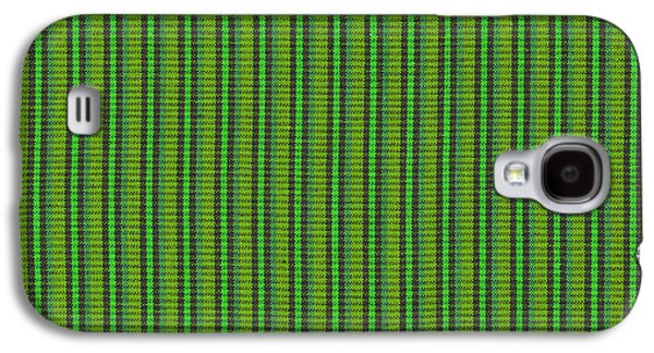 Textured Digital Art Galaxy S4 Cases - Green And Black Striped Fabric Background Galaxy S4 Case by Keith Webber Jr