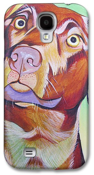 Colorful Abstract Galaxy S4 Cases - Green and brown Dog Galaxy S4 Case by Joshua Morton