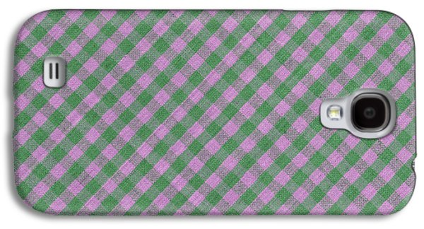 Diagonal Galaxy S4 Cases - Green And Pink Checkered diagonal Tablecloth Cloth Background Galaxy S4 Case by Keith Webber Jr