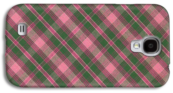 Diagonal Galaxy S4 Cases - Green And Pink Diagonal Plaid Pattern Textile Background Galaxy S4 Case by Keith Webber Jr