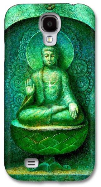 Buddhist Paintings Galaxy S4 Cases - Green Buddha Galaxy S4 Case by Sue Halstenberg