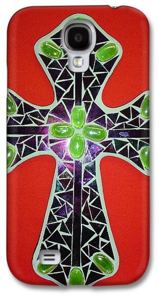 Green Glass Art Galaxy S4 Cases - Green cross Galaxy S4 Case by Fabiola Rodriguez