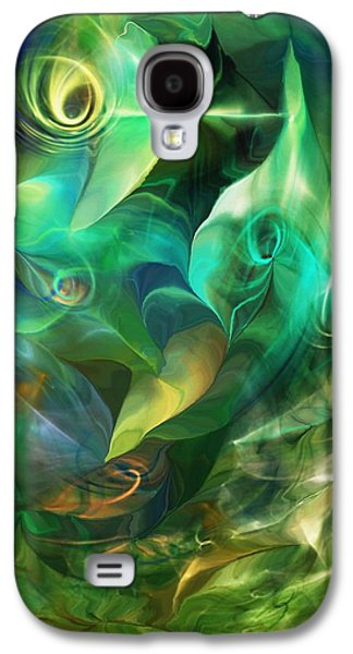 Abstract Digital Galaxy S4 Cases - Green Fantasy 082413 Galaxy S4 Case by David Lane