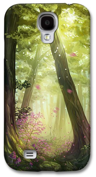 Phantasie Digital Art Galaxy S4 Cases - Green Forest Galaxy S4 Case by Cassiopeia Art