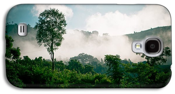 Landscape Acrylic Prints Galaxy S4 Cases - Green forest with blue sky with cloud and fog Galaxy S4 Case by Raimond Klavins