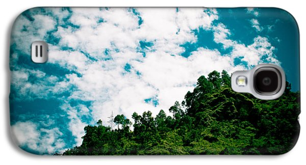 Landscape Acrylic Prints Galaxy S4 Cases - Green forest with blue sky with cloud Galaxy S4 Case by Raimond Klavins