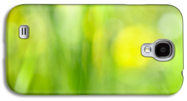 Botanical Galaxy S4 Cases - Green grass with yellow flowers abstract Galaxy S4 Case by Elena Elisseeva