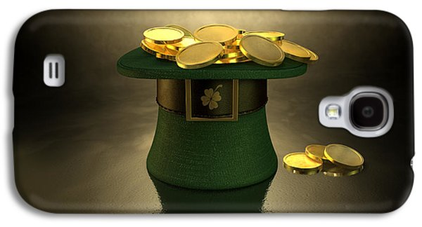 Valuable Galaxy S4 Cases - Green Leprechaun Hat Filled With Gold Coins Galaxy S4 Case by Allan Swart