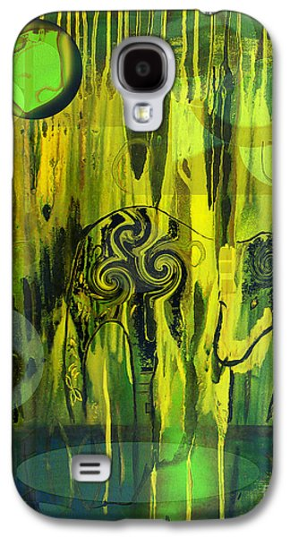 Abstract Digital Paintings Galaxy S4 Cases - Green Light Galaxy S4 Case by Yul Olaivar