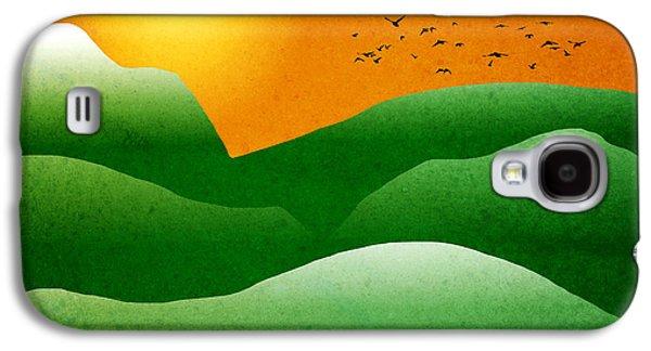 Christina Digital Galaxy S4 Cases - Green Mountain Sunrise Landscape Art Galaxy S4 Case by Christina Rollo