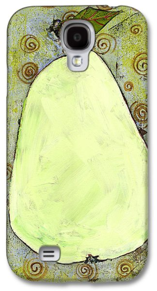 Interior Still Life Paintings Galaxy S4 Cases - Green Pear Art With Swirls Galaxy S4 Case by Blenda Studio