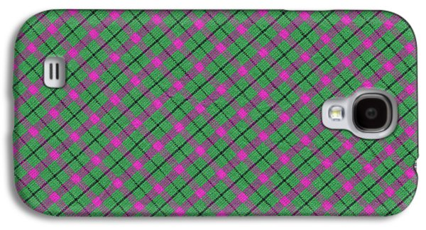 Diagonal Galaxy S4 Cases - Green Pink and Black Diagonal Plaid Design Fabric Background Galaxy S4 Case by Keith Webber Jr