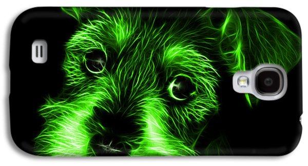 Puppy Digital Art Galaxy S4 Cases - Green Salt and Pepper Schnauzer Puppy 7206 F Galaxy S4 Case by James Ahn