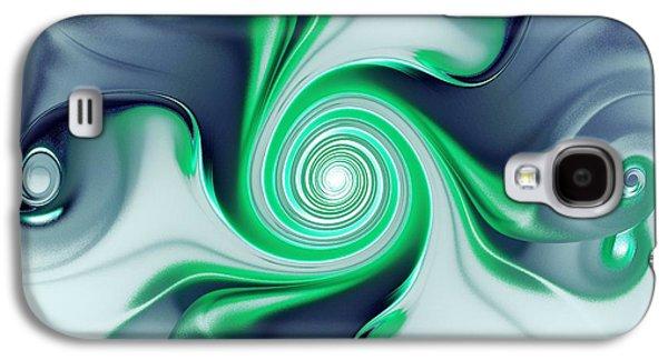 Digital Galaxy S4 Cases - Green Swirls Galaxy S4 Case by Anastasiya Malakhova