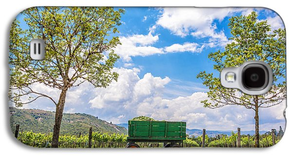 Wine Cart Galaxy S4 Cases - Green Wagon and Vineyard Galaxy S4 Case by Jess Kraft