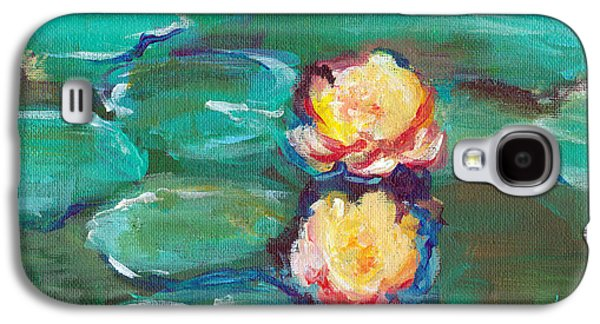 Alga Paintings Galaxy S4 Cases - Green Water Lilies Galaxy S4 Case by Lauren Heller