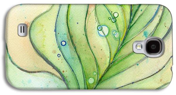 Patterned Mixed Media Galaxy S4 Cases - Green Watercolor Bubbles Galaxy S4 Case by Olga Shvartsur