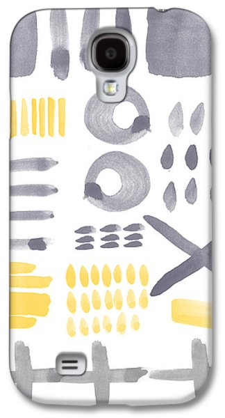 Sun Mixed Media Galaxy S4 Cases - Grey and Yellow Shapes- abstract painting Galaxy S4 Case by Linda Woods