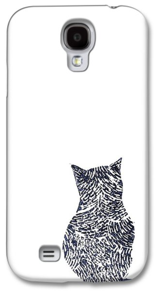 Lino Paintings Galaxy S4 Cases - Grey Cat Galaxy S4 Case by Sharon Neudeck