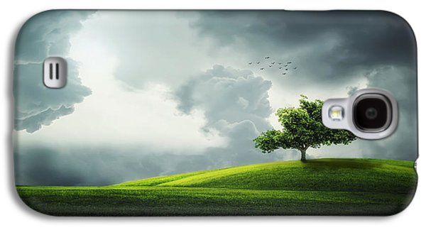 Timing Galaxy S4 Cases - Grey clouds over field with tree Galaxy S4 Case by Bess Hamiti