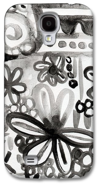 Grey Garden- Abstract Floral Painting Galaxy S4 Case by Linda Woods