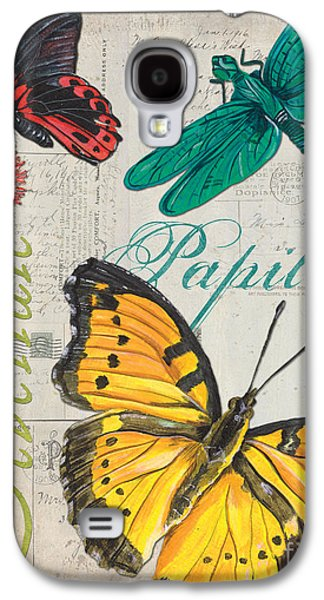 Words Galaxy S4 Cases - Grey Postcard Butterflies 3 Galaxy S4 Case by Debbie DeWitt