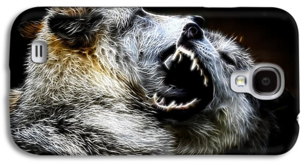 Preditor Galaxy S4 Cases - Grey Wolf Fight Galaxy S4 Case by Steve McKinzie