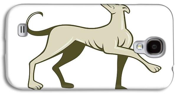 Dog Walking Digital Galaxy S4 Cases - Greyhound Dog Marching Looking Up Cartoon Galaxy S4 Case by Aloysius Patrimonio
