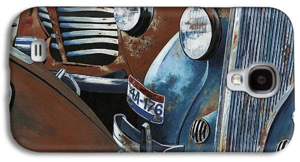 Rust Paintings Galaxy S4 Cases - Gridlock in the Yard Galaxy S4 Case by John Wyckoff