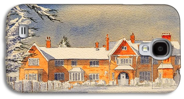 Snow Scene Landscape Paintings Galaxy S4 Cases - Griffin House School - Snowy Day Galaxy S4 Case by Bill Holkham