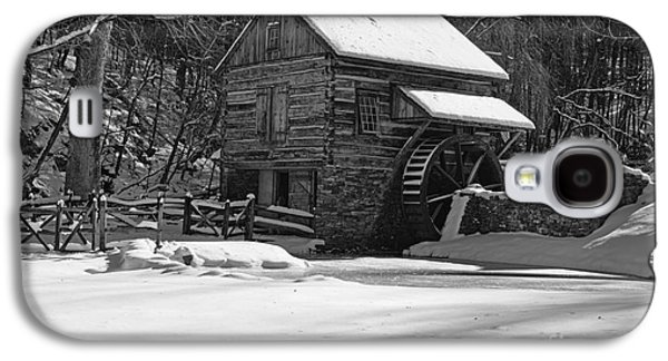 Winter Road Scenes Galaxy S4 Cases - Grist Mill Winter in Black and White Galaxy S4 Case by Paul Ward