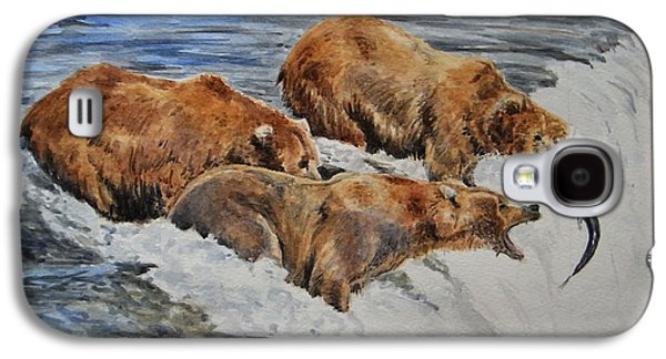 Salmon Paintings Galaxy S4 Cases - Grizzlies fishing Galaxy S4 Case by Juan  Bosco