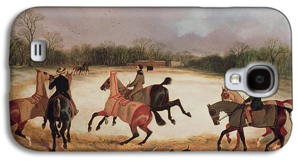 Dog Trots Galaxy S4 Cases - Grooms exercising racehorses  Galaxy S4 Case by David of York Dalby