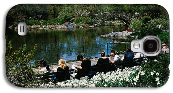 Pond In Park Galaxy S4 Cases - Group Of People Sitting On Benches Galaxy S4 Case by Panoramic Images