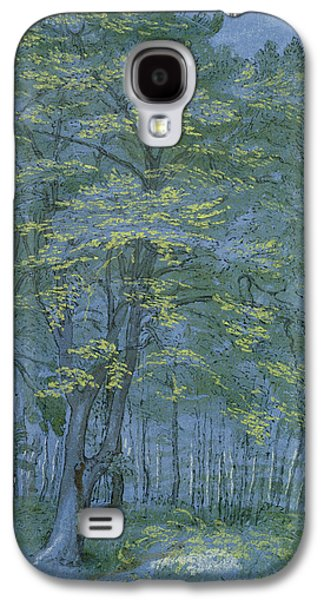 Landscapes Drawings Galaxy S4 Cases - Group of Trees in a Wood Galaxy S4 Case by Hendrik Goltzius