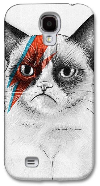 Grumpy Cat As David Bowie Galaxy S4 Case by Olga Shvartsur