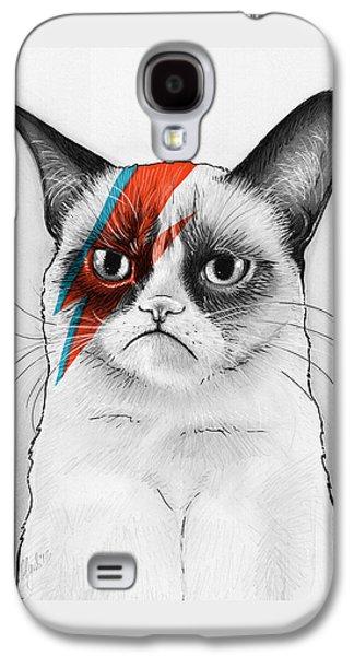 Drawing Drawings Galaxy S4 Cases - Grumpy Cat as David Bowie Galaxy S4 Case by Olga Shvartsur